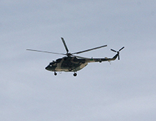 Chinese military helicopter flying over Tagong Monastery on March 22nd