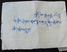 "Note by Drepung Monk to a tourist:, ""Today, the monks are staging Tibet's independence, you"""