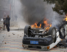 Lhasa Burning Car